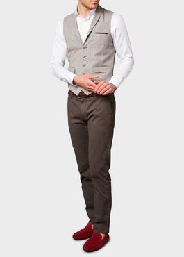 Chino slack skinny en coton stretch marron à motifs géométriques 2 - Father And Sons