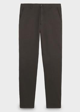 Chino slack skinny en coton stretch marron à motifs géométriques 1 - Father And Sons
