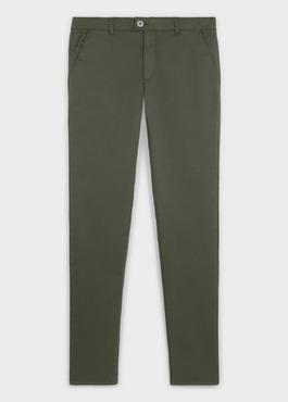 Chino slack skinny en coton stretch vert kaki à pois 1 - Father And Sons
