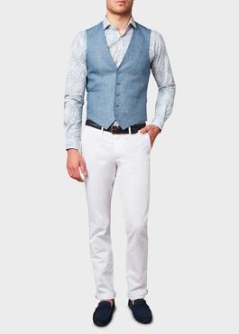 Chino slack skinny en coton stretch uni blanc 2 - Father And Sons