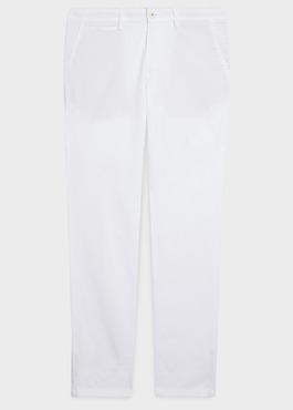 Chino slack skinny en coton stretch uni blanc 1 - Father And Sons