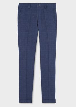 Pantalon coordonnable skinny en lin bleu indigo à motif Prince de Galles 1 - Father And Sons