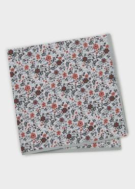 Pochette en coton blanche à motif fleuri gris et rouge 1 - Father And Sons