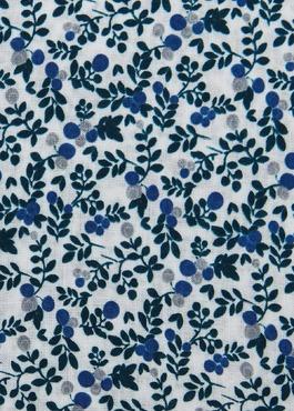 Pochette en coton blanche à motif fleuri bleu et gris clair 2 - Father And Sons