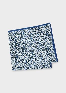 Pochette en coton blanche à motif fleuri bleu et gris clair 1 - Father And Sons