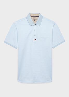 Polo manches courtes Slim en coton bleu clair à motifs zigzag 1 - Father And Sons