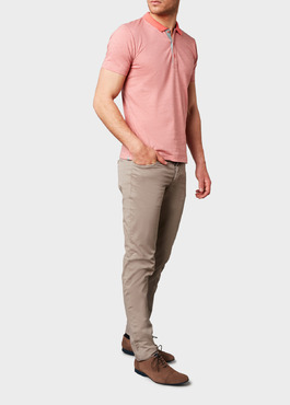 Polo manches courtes Slim en coton corail chiné 2 - Father And Sons