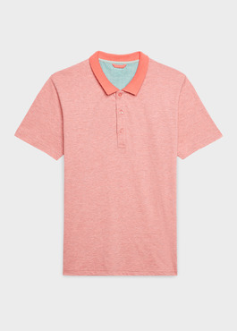 Polo manches courtes Slim en coton corail chiné 1 - Father And Sons