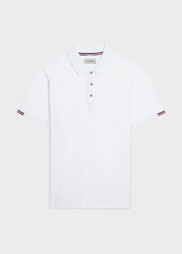 Polo manches courtes Slim en coton mercerisé blanc 1 - Father And Sons