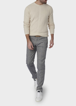 Pull en coton maille torsadé col rond beige 2 - Father And Sons
