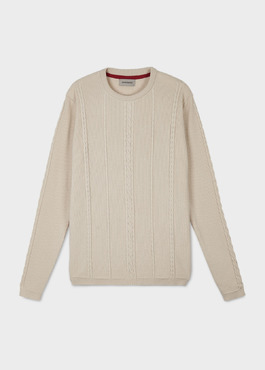 Pull en coton maille torsadé col rond beige 1 - Father And Sons