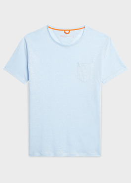 Tee-shirt manches courtes en lin uni bleu ciel 1 - Father And Sons
