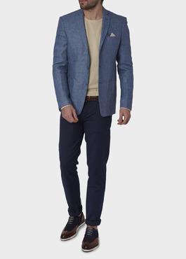 Veste coordonnable Regular en lin bleu 2 - Father And Sons
