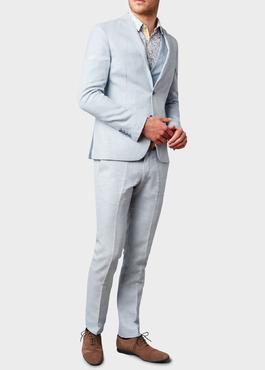Veste coordonnable Slim en lin bleu ciel 2 - Father And Sons