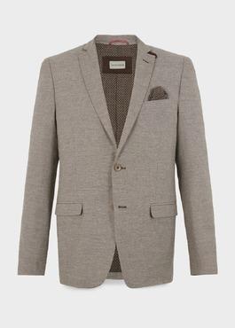 Veste coordonnable Regular en lin marron 1 - Father And Sons