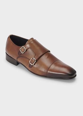 251c13460ea6a Chaussures à boucles en cuir lisse cognac
