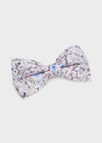 c08becbc8290c Noeud-papillon en coton rose clair à motif fleuri blanc et bleu clair