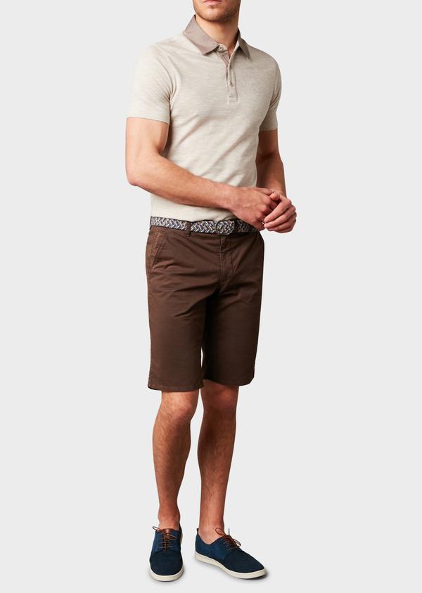 Bermuda en coton stretch marron à motifs - Father and Sons 4638