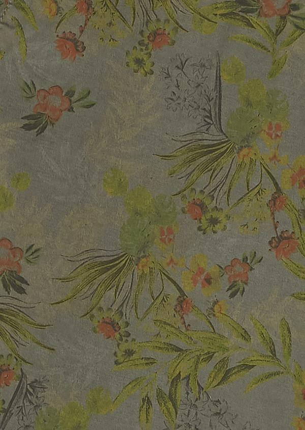 Bermuda en coton stretch vert kaki à motif fantaisie - Father and Sons 7816