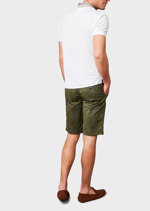 Bermuda en coton stretch vert kaki à motif fantaisie - Father and Sons 7818