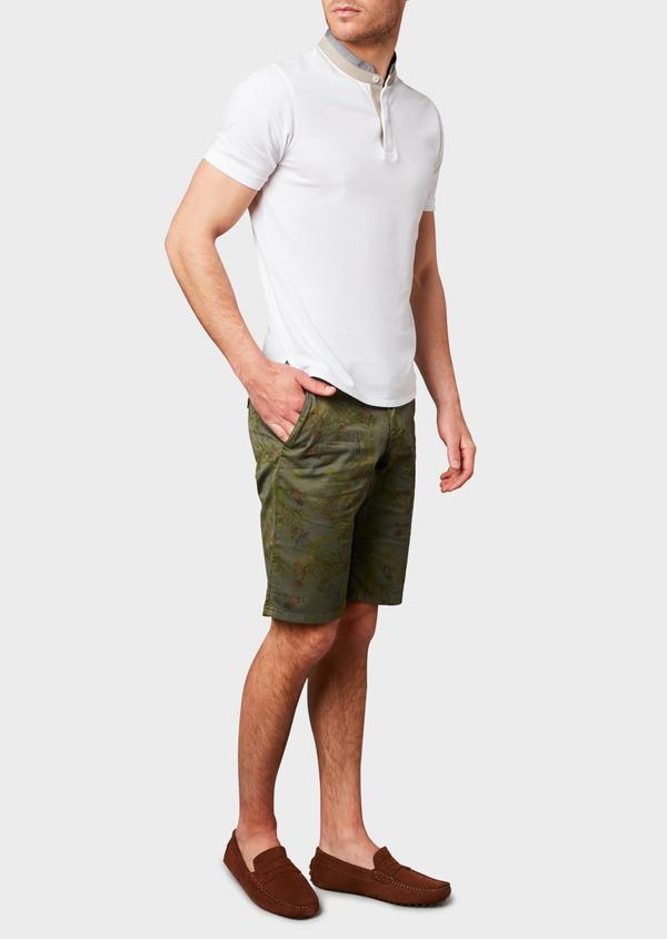 Bermuda en coton stretch vert kaki à motif fantaisie - Father and Sons 7817