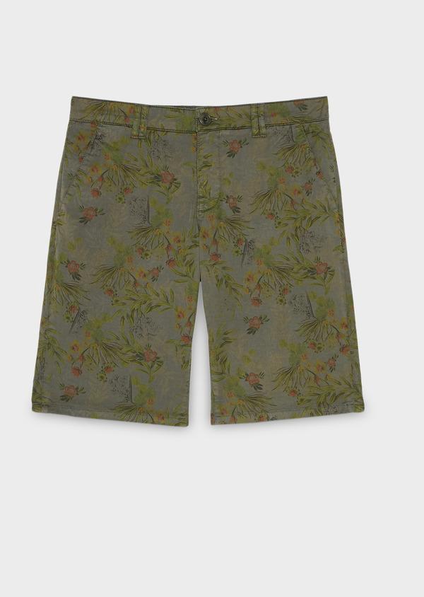 Bermuda en coton stretch vert kaki à motif fantaisie - Father and Sons 7815