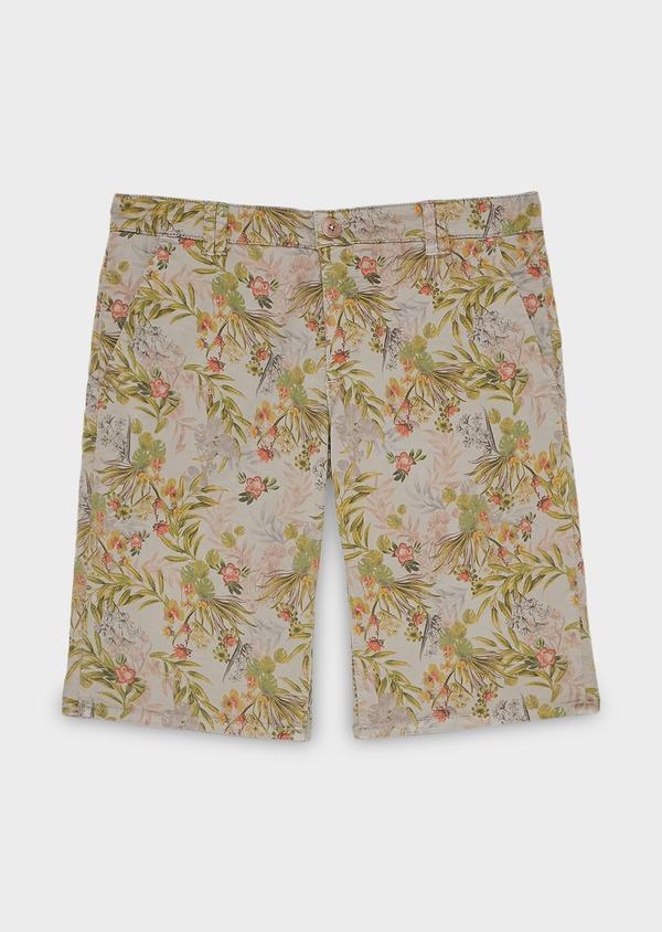 Bermuda en coton stretch marron clair à motif fleuri - Father and Sons 7829