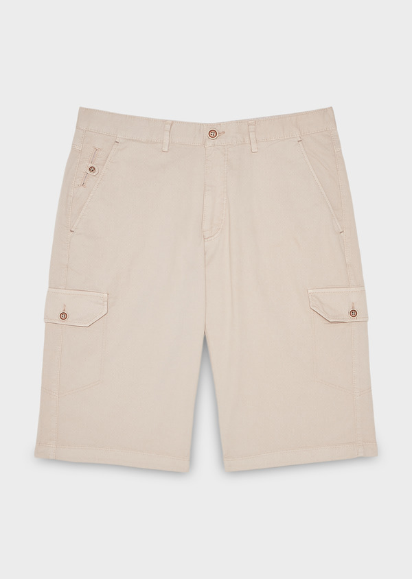 Bermuda cargo en coton stretch uni beige - Father and Sons 7801
