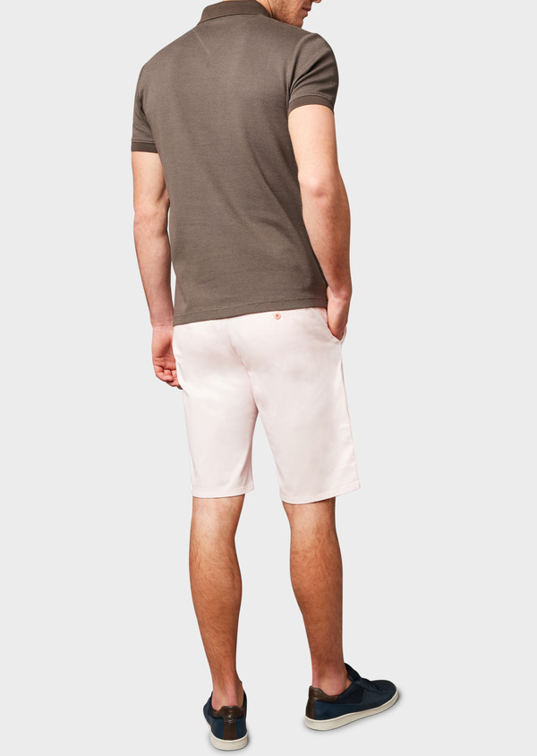 Bermuda en coton stretch uni rose clair - Father and Sons 4651