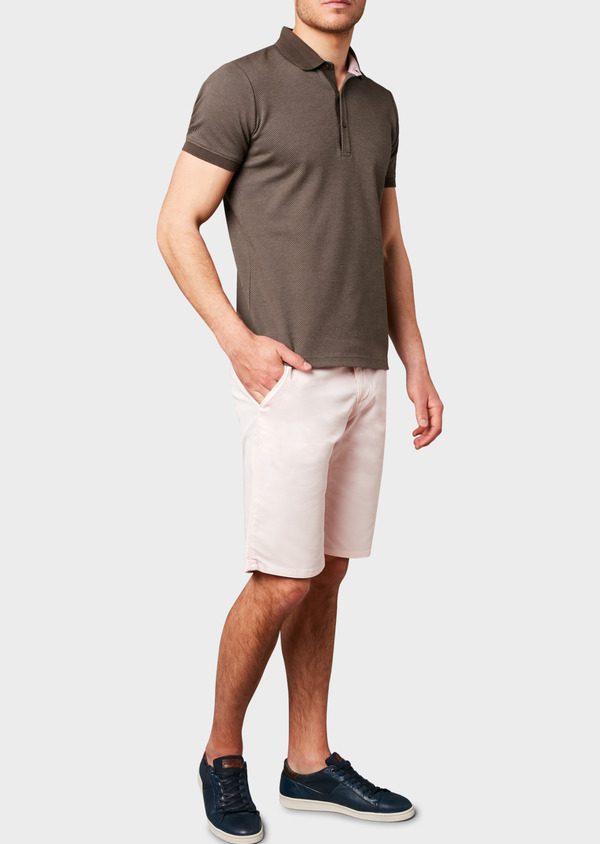 Bermuda en coton stretch uni rose clair - Father and Sons 4650