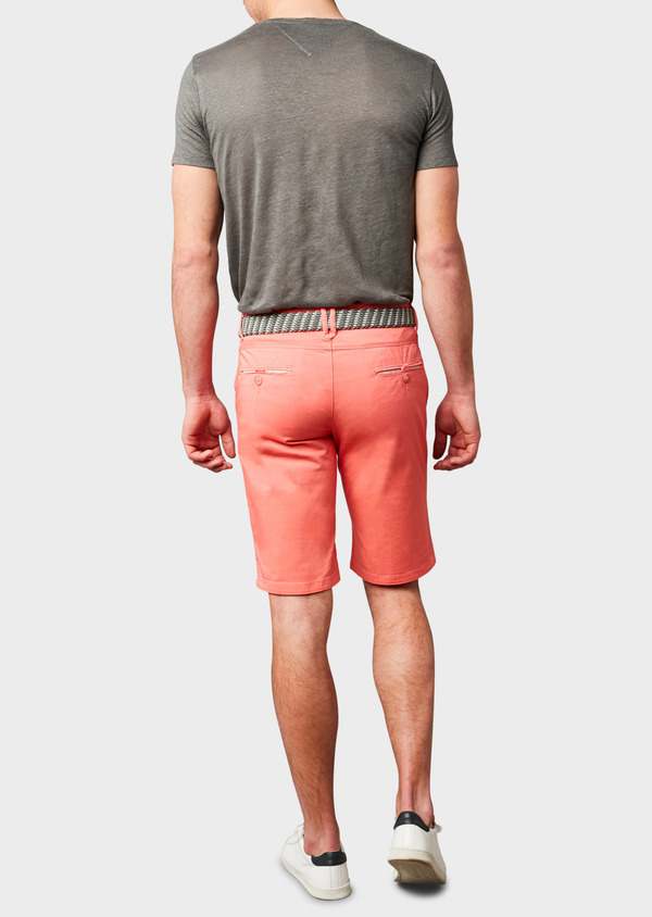 Bermuda en coton stretch uni corail - Father and Sons 7808
