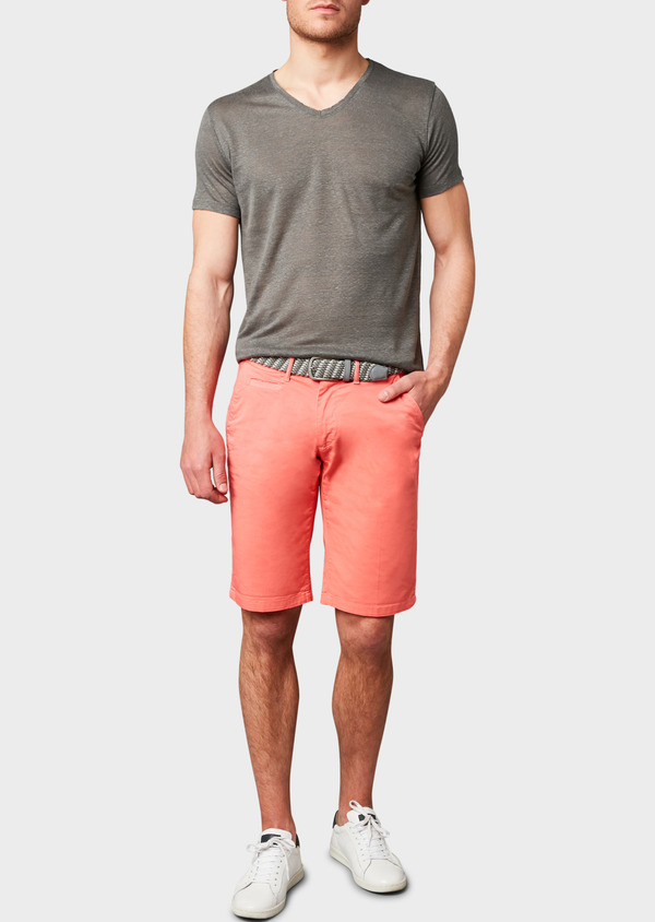 Bermuda en coton stretch uni corail - Father and Sons 7807