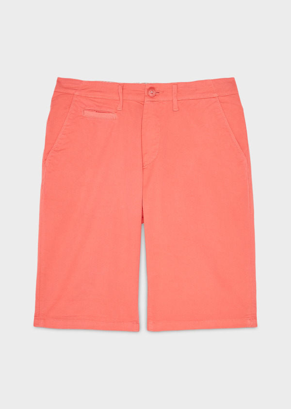 Bermuda en coton stretch uni corail - Father and Sons 7805