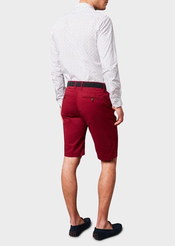 Bermuda en coton stretch uni bordeaux - Father and Sons 4620