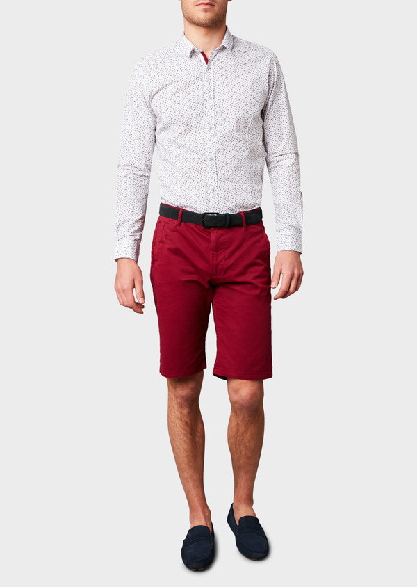 Bermuda en coton stretch uni bordeaux - Father and Sons 4619