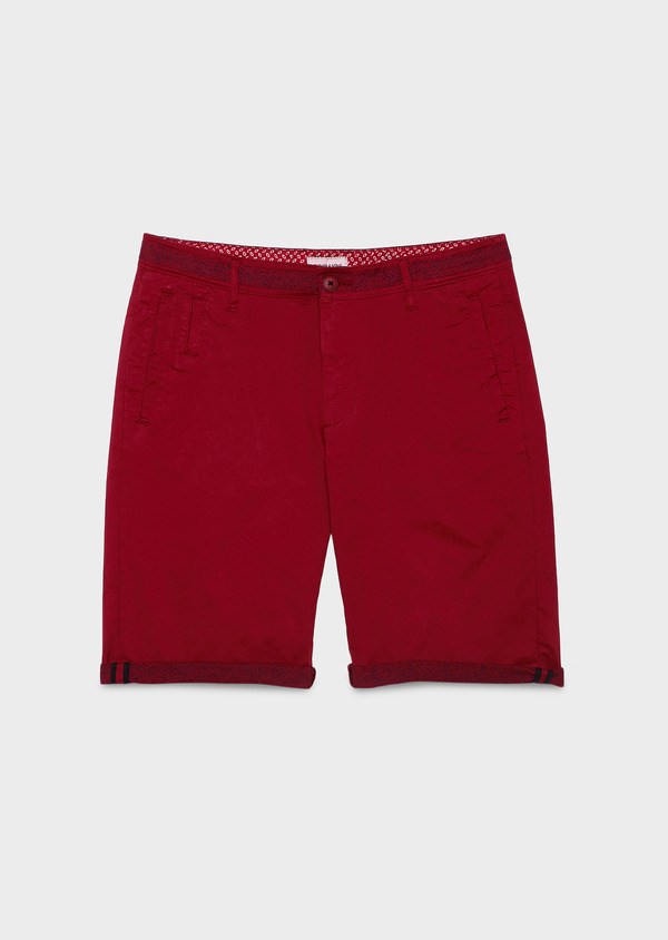 Bermuda en coton stretch uni bordeaux - Father and Sons 4617