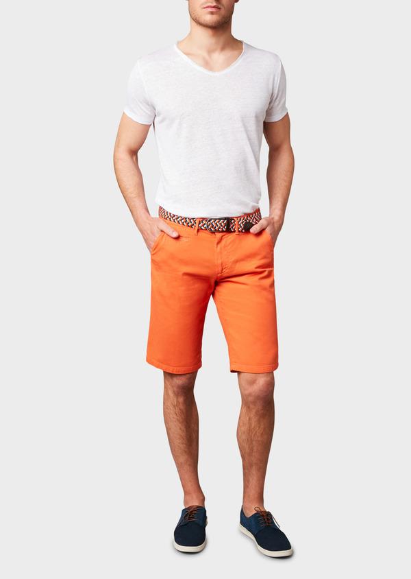 Bermuda en coton stretch uni orange - Father and Sons 4613
