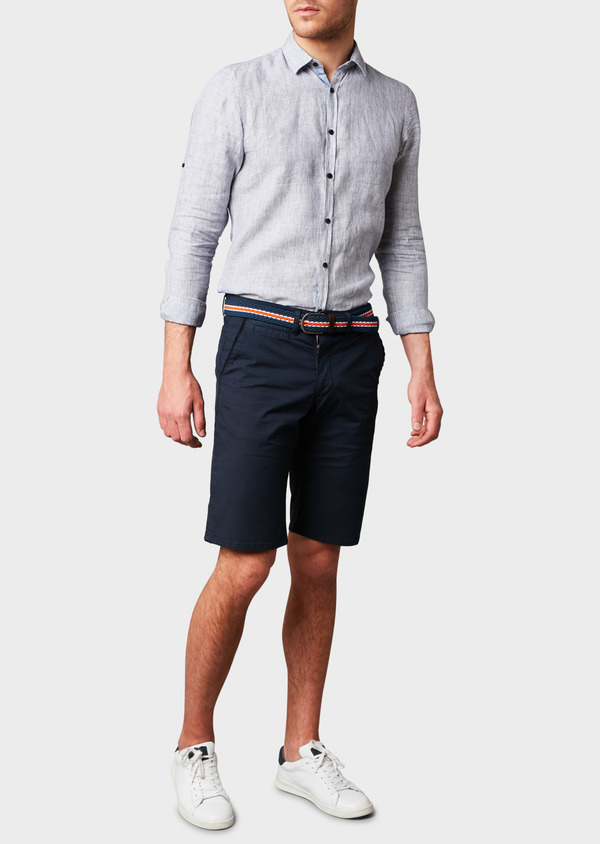 Bermuda en coton stretch uni bleu marine - Father and Sons 4644