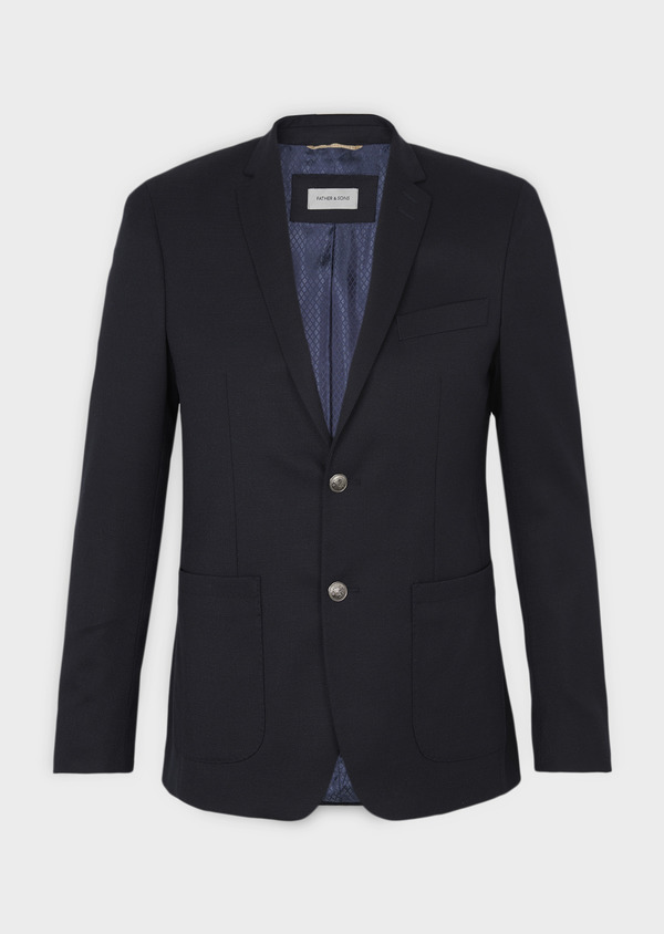 Blazer Slim en laine mélangée uni marine - Father and Sons 4654