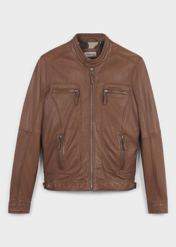 Blouson Biker en cuir uni marron - Father and Sons 4664