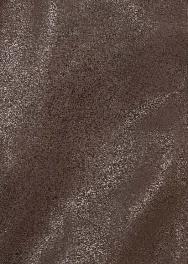 Blouson Biker en cuir uni marron foncé - Father and Sons 4701
