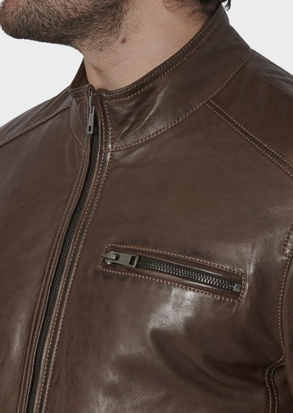 Blouson Biker en cuir uni marron foncé - Father and Sons 4704