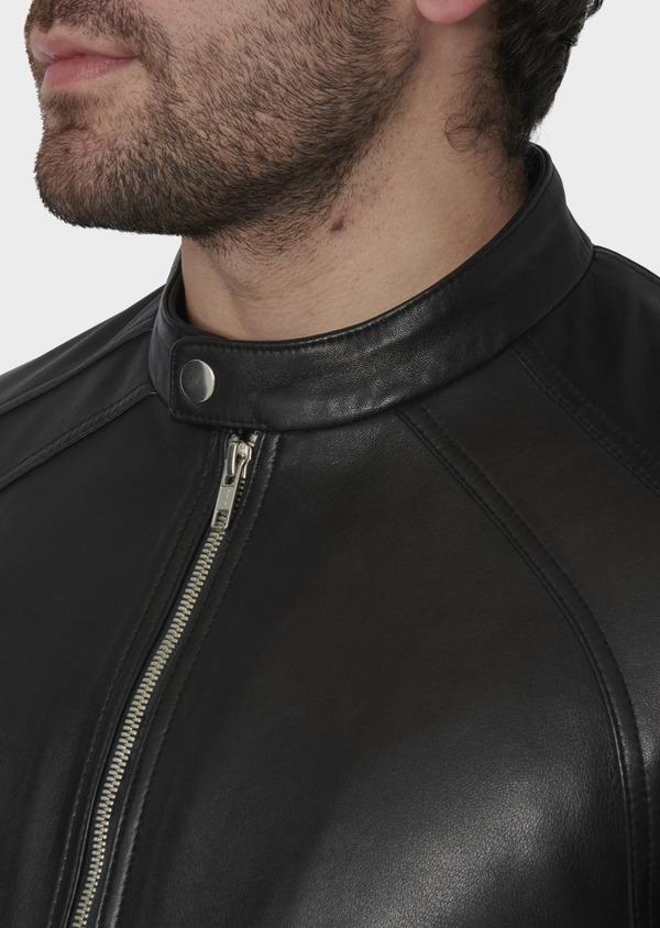Blouson Biker en cuir uni noir - Father and Sons 4695