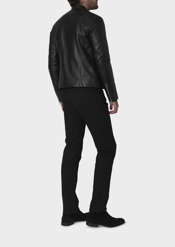 Blouson Biker en cuir uni noir - Father and Sons 4694