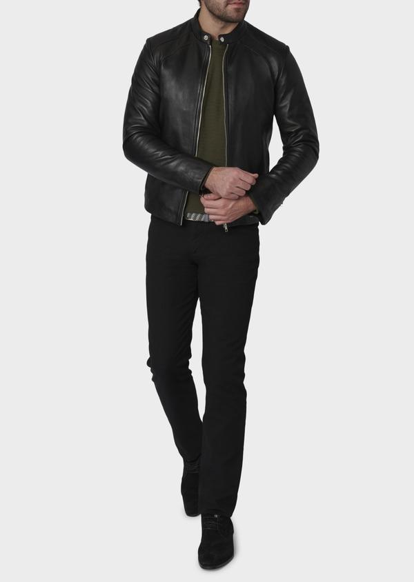 Blouson Biker en cuir uni noir - Father and Sons 4693