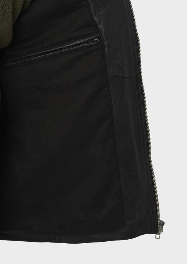 Blouson Biker en cuir uni noir - Father and Sons 4696