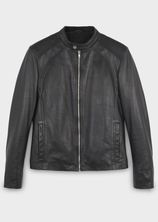 Blouson Biker en cuir uni noir - Father and Sons 4691