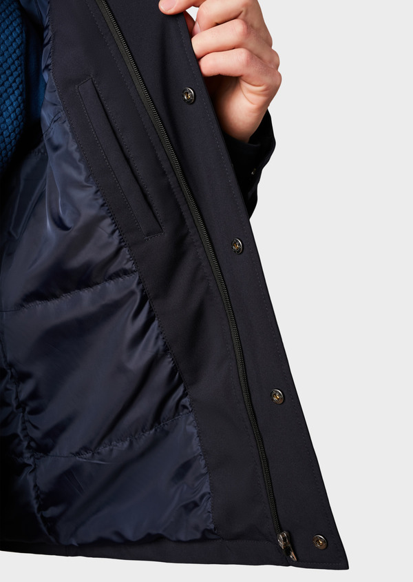 Parka unie bleu marine à capuche amovible - Father and Sons 4760