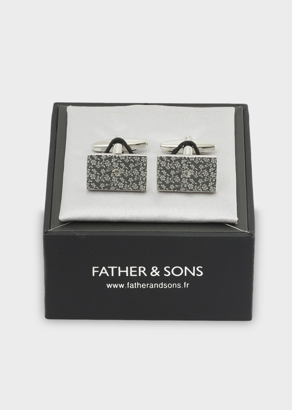 Boutons de manchettes rectangulaires motif fleuri argent - Father and Sons 4790