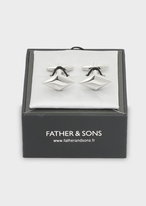 Boutons de manchettes losanges argent - Father and Sons 4802